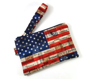 Wristlet Wallet / Cell Phone Clutch / American Flag Wristlet with Removable Strap