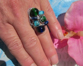 Huge sapphire blue, green & aqua colors glass beads , silver thread wrapped RING