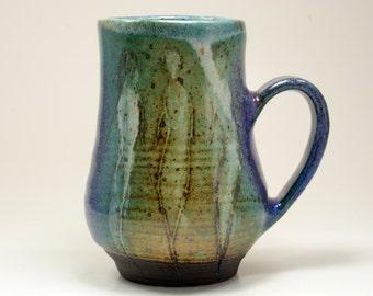Handmade pottery mug. 16 oz cup. Stoneware Mug Coffee Mug.  Blue green ceramic tea cup.