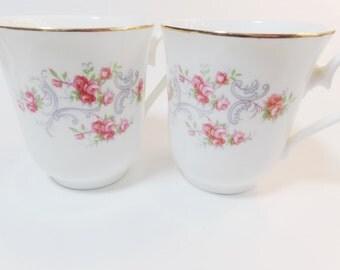 Queen Anne English Bone China Coffee Tea Mugs, Set Of Two Porcelain Mugs, Pink Flower Mug, Flower Coffee Tea Cups, Shabby Chic Tea Cups