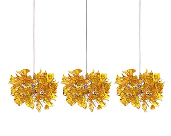 Lighting - Triple Pendant light - yellow flowers and leaves round shape for Kitchen Island, Dinning Room.
