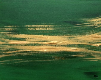 SALE Green abstract acrylic painting, green and gold artwork, green acrylic original artwork, green abstract art, 16 X 12 inches