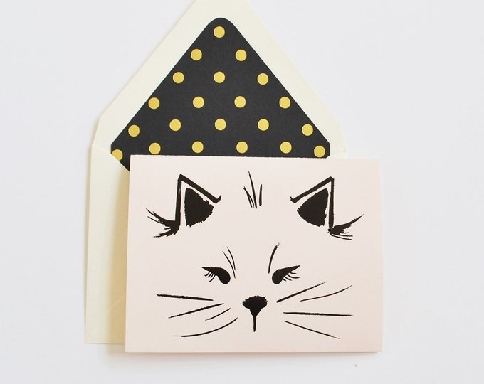 Illustrated Black Matte Foil Cat Card by The First Snow