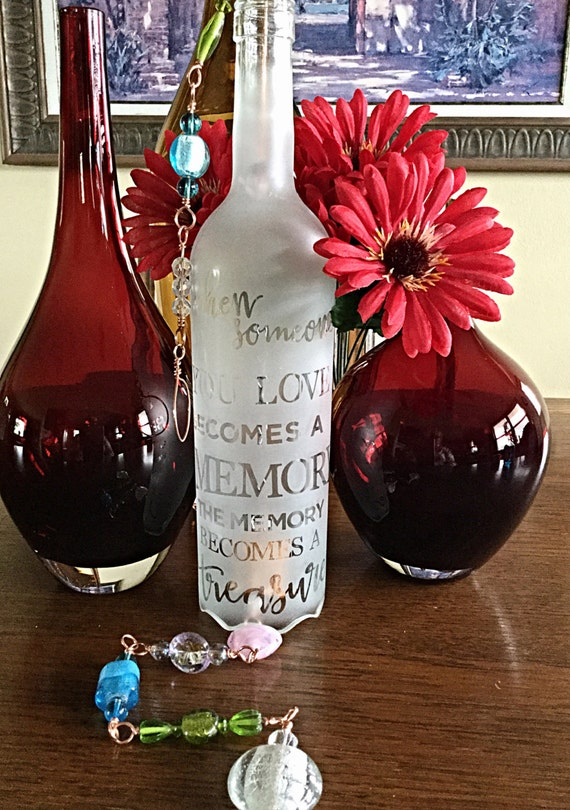 Personalized Engraved Sympathy Wind Chimes Glass Bottles