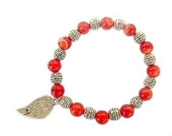 Pink Agate bracelet, gemstone bracelet, freshwater pearl