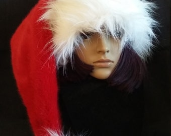 Extra long Santa hat in classic red and white