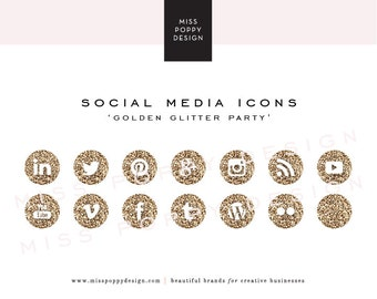 Social Media Icons - PNG Files - for Blogs & Websites - Gold Glitter