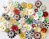 Reserved for Rita Metal Enamel Flower Brooches Multicolor Enamel Flower Pins Brooch Bouquet Lot Red Yellow White Green Blue Purple