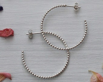 Silver Bobble Hoops - Handmade - Hoop - Earrings - For Her