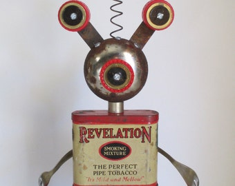 RUSTY PIPES- Found object robot sculpture~assemblage