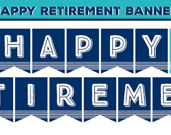 Retirement Party Printable Navy Blue & Turquoise Includes