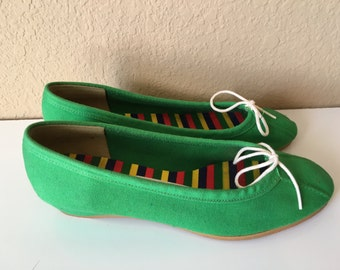 Vintage 1960's Outdorables by Daniel Green green canvas wedge shoes 6.5 M