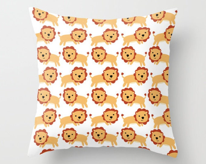 Childs Lion Throw Pillow Cover - Lion Nursery Art - Childs Room Decor - Made to Order