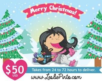 Customizable Digital Illustration Cute Kawaii style Christmas Background