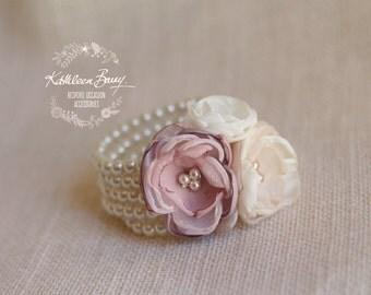 Pink flower corsage Cuff bracelet on pearls - Colors to order - Bride Bridesmaid Mother of Bride Groom gift STYLE: Berdean