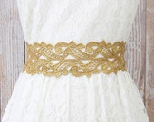 Wide Metallic Gold Lace with Old Gold Ribbon Sash Belt, Bridal Gold Lace Sash, Bridesmaid Sash ,Flower Girl Sash