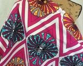 African Wax Print Fabric--Ankara Print Fabric--Pink, Turquoise, and Orange Flourish Wax Print Fabric--African Fabric by the HALF YARD