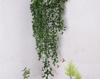 Artificial Plants 110cm Hanging Basket Leaves Vine 2 Bunches Plastic Green Ivy Garland Fake Plants For Home Decoration Wedding Arrangement