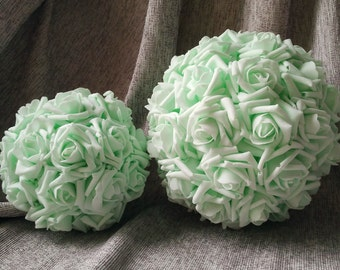 "9"" Mint Kissing Balls Pomanders Foam Rose Flower Balls For Wedding Decor Centerpieces Flower Girl Bouquets"