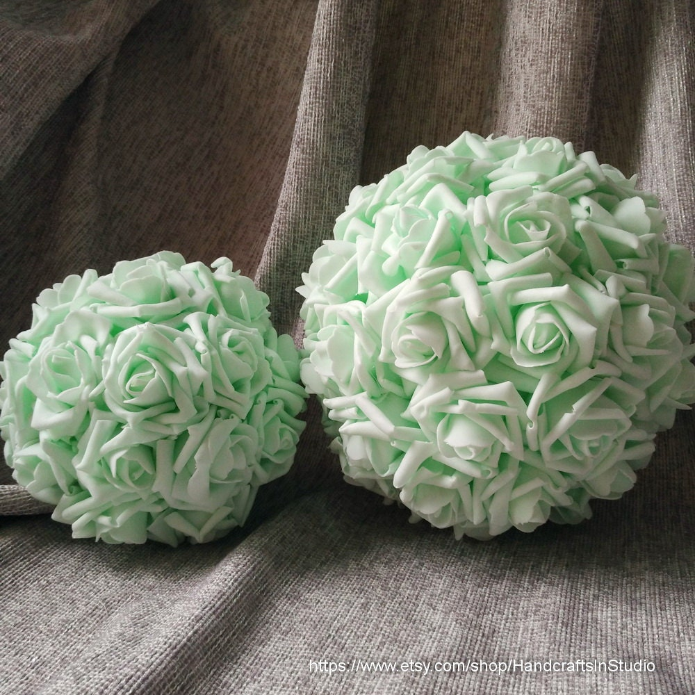 Mint kissing balls pomanders foam rose flower