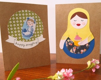 Sweet Baby – Assorted Greeting Cards – Set of 4 Handmade Greeting Cards – Baby Shower -  New Baby Card - Birthday Card - Note Card - Cupcake