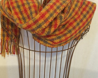 Hand-woven poppy-red, gold and toffee wool plaid scarf with twisted fringe