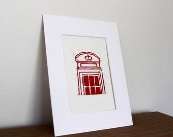Red London telephone box linocut print