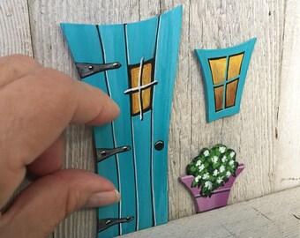 Aqua Teal Turquoise Verdigris Wonky Fairy Door Window Flowerpot Tooth Fairy Door Miniature Magic Door Art Acrylic Painting on Wood