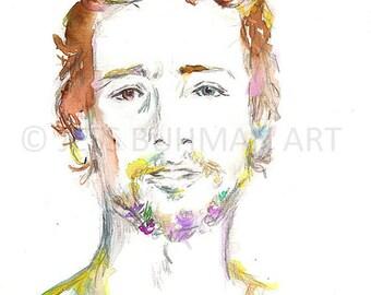 """Original Watercolor Painting, Portrait of Man, """"James"""" by Jessica Buhman 9 x 12, Watercolor Portrait, Floral Flowers Beard"""