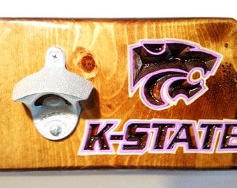 Kansas K-State Bottle Opener for Bar or Home