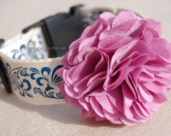 Modern Purple  flower dog collar,wedding dog collar.Birthday Party dog collar.cute  purple flower collar for dog. handmade dog collar