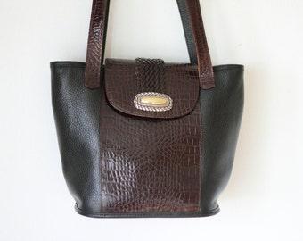 Vintage BRIGHTON Black Brown Pebble Leather Bucket Bag/ Brighton Croc Embossed Medium Leather Handbag Purse