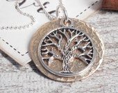 Tree Of Life Pendant...Bronze Hammered Necklace...Nature Jewelry