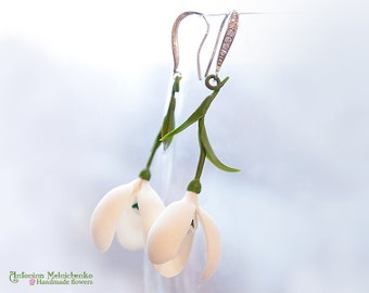 Earrings Snowdrops - Polymer Clay Flowers