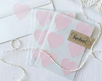 12 Large Blush Heart Stickers, Envelope Seals, Wedding Envelope Stickers, Gift Wrap, Valentines Day, Pink Hearts, Stationery, Snail Mail