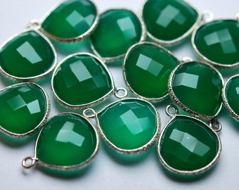 925 Sterling Silver,GREEN ONYX  Faceted Heart Shape Pendant,5 Piece of 16mm