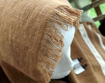 Our Daily Bread Linen/Rayon Caramel Brown Shawl Head Cover
