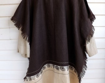Psalms 119 Brown and Beige 100% Linen Caftan Tunic with Matching Ribbon, Decorative Stitch and Frayed Edging
