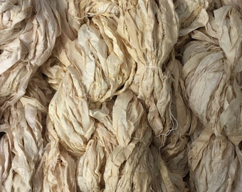 Ethically Sourced Fair Trade Ivory/Off White Recycled Sari Ribbon Art Yarn