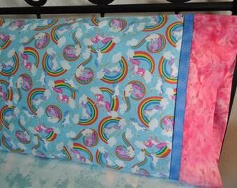 Handmade standard sz pillowcase Unicorns Clouds & Rainbows