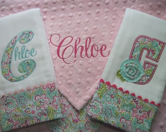 Personalized baby girl Lovey Blanket and 2 coordinating Burp Cloths