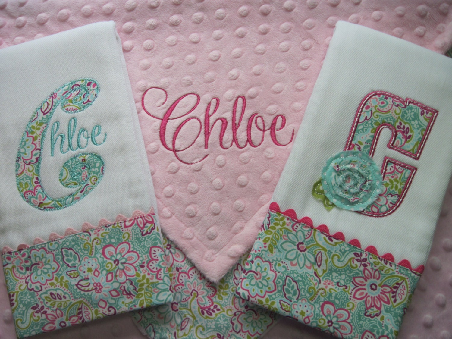 personalized baby girl lovey blanket and 2 coordinating burp