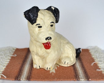 Chalkware Puppy Door Stop, Charming 1940s Painted Plaster Figure, Vintage White & Black Dog Statue