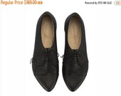 WINTER SALE Black oxford shoes, Polly Jean, handmade, flats, leather shoes, by Tamar Shalem on etsy