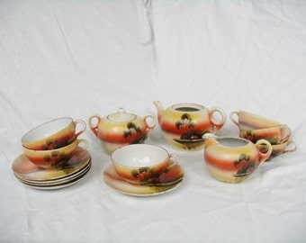Vintage Japanese Tea Set painted scene sugar creamer cups teapot
