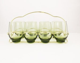 Olive Green - Set of Eight Drinking Glasses in Wire Holder - Pear-shaped Olive Green 8 Oz. Glasses - Solid Glass Bottom - Goldtone Carrier