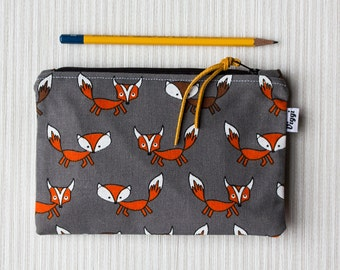 Zipper pouch fox, pencil case foxes, school supplies