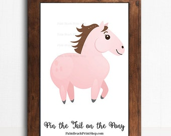 Pin the Tail on the Pony Printable Birthday Party Game - Western Cowgirl Birthday Game - Pin the Tail on the Pink Horse - Instant Download