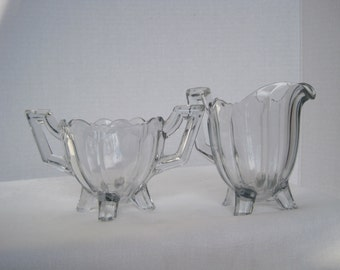 Glass Sugar Bowl & Cream Pitcher 4 feet, bold handles Vintage Sugar and Cream Set