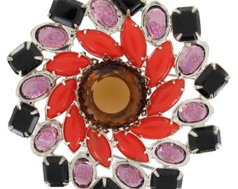 Large 1980s Statement Brooch Purple Coral Color Crystal Rhinestone Jewelry 1980s